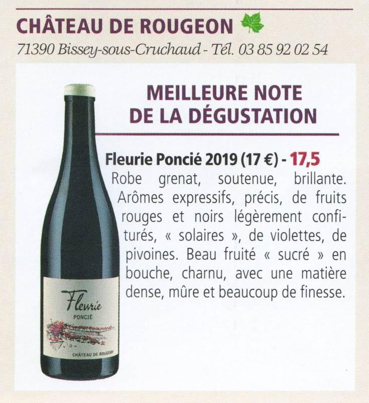 Fleurie Poncié - Chateau de Rougeon 17,5/20